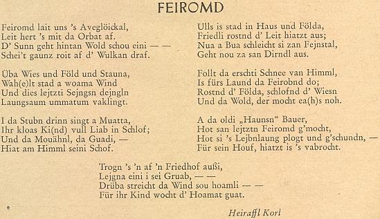 """Úplná verze jeho básně """"Feiromd"""" (Sváteční večír) na stránkách přílohy krajanského měsíčníku"""