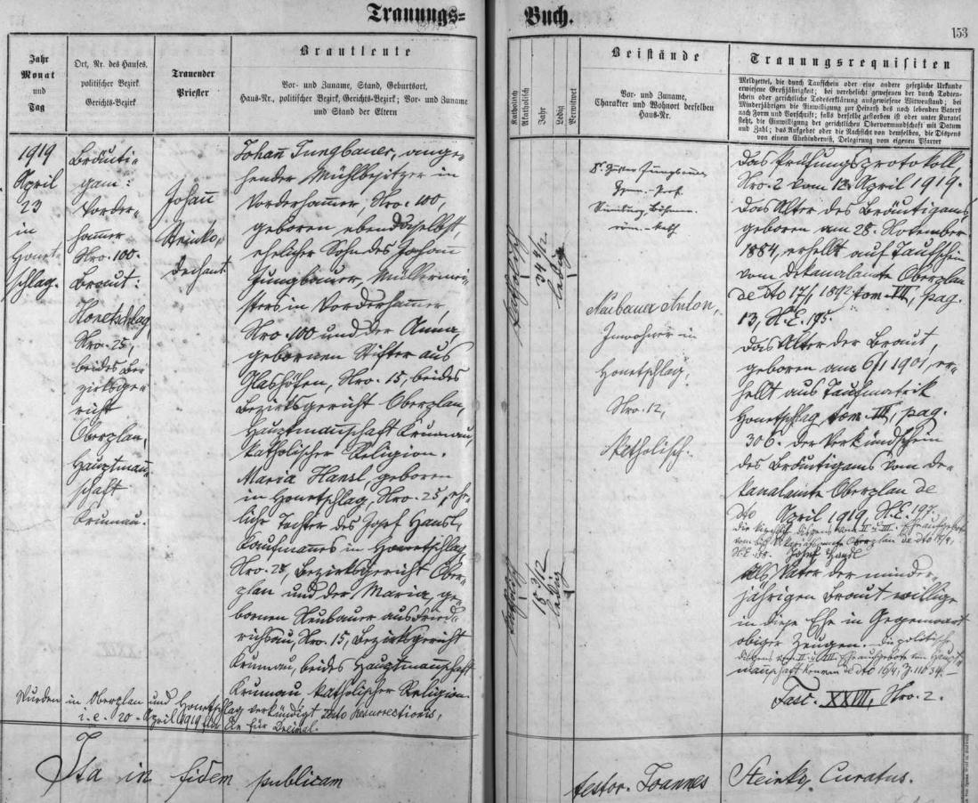 Záznam hodňovské oddací matriky o svatbě jeho rodičů v dubnu roku 1919