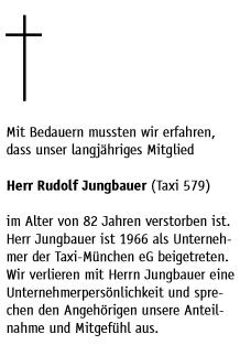 Jeho úmrtní oznámení na stránkách časopisu mnichovských taxikářů