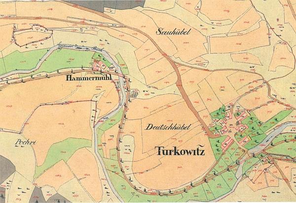Dobrkovický hamr, kde se narodil a jehož okolí se často objevuje v jeho popisu, na staré katastrální mapě z prvé půle 19. století...
