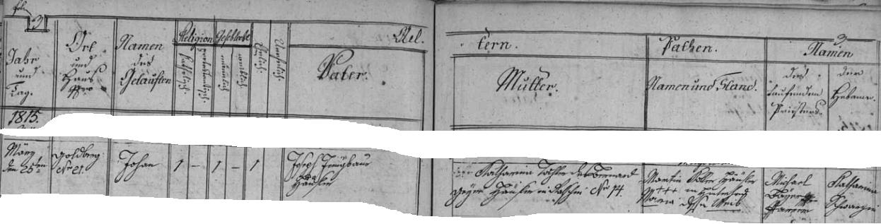 Záznam ondřejovské křestní matriky o jeho narození 25. března 1815 ve zdejším stavení čp. 21 chalupníku Josefu Jungbauerovi a jeho ženě Katharině, dceři Bernarda Gryma, chalupníka v Račíně čp. 14