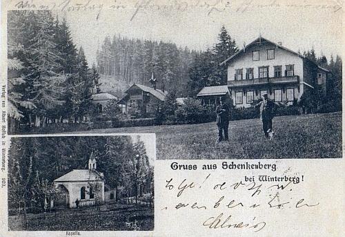 """""""Složená"""" pohlednice ze Schenkenbergu, kde skonal"""