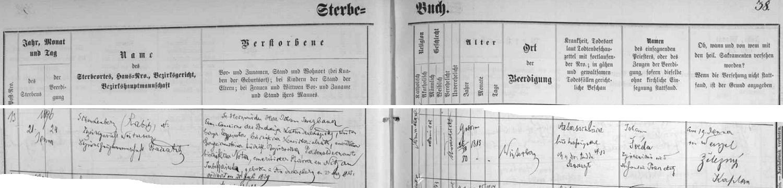 Záznam vimperské knihy zemřelých o jeho skonu Na Radosti (Schenkenbeg) uvádí všechny jeho tituly a také příčinu úmrtí, kterou byla u osmdesátiletého kněze stařecká slabost