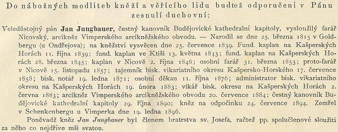 Úmrtní oznámení v ordinariátním listu diecéze z února 1896