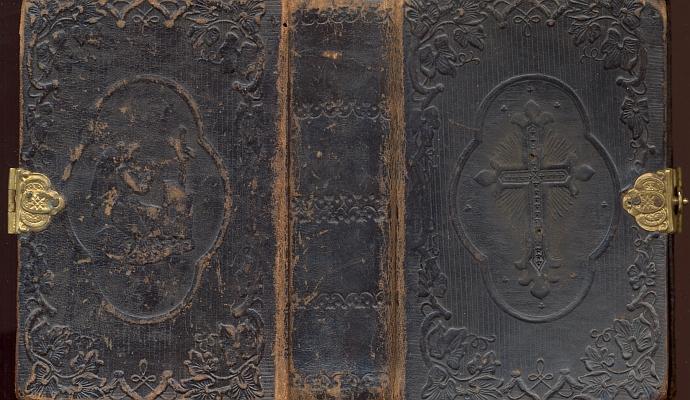 Vazba, patitul, frontispis a titulní list jeho modlitební knihy, vydané bez udání letopočtu u vimperského Steinbrenera