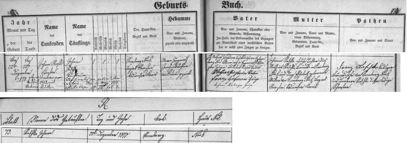 Podle záznamu v želnavské křestní matrice i v indexu její 10. knihy se narodil jako Johann Raschko 22. prosince roku 1870 v Žumberku (dnes Slunečná) čp. 6 - otec Matthias Jungbauer však otcovství přiznal a sňatkem s Johannou Raschko legitimizoval syna v květnu 1875 jako svého i s příjmením Jungbauer - přípis z roku 1912 informuje i o Johannově svatbě s Hedwig Müllerovou v dubnu toho roku