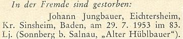 """Zpráva o jeho úmrtí 29. července roku 1953 """"in der Fremde"""", tj. """"v cizině"""", na stránkách krajanského měsíčníku"""