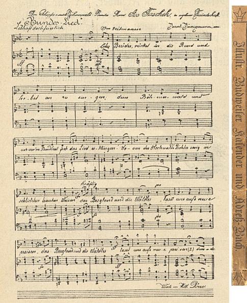 """Notový záznam jeho """"Spolkové písně Německého Böhmerwaldbundu"""", věnované jím Josefu Taschekovi,     na stránkách """"Ilustrovaného Budějovického kalendáře a adresáře na rok 1895"""""""