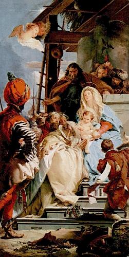 Kopie obrazu Klanění tří králů (1753), jehož autorem je italský barokní malíř Giovanni Battista Tiepolo (1696-1770), tvořila střed hlavní opony v hořickém Domě pašijových her