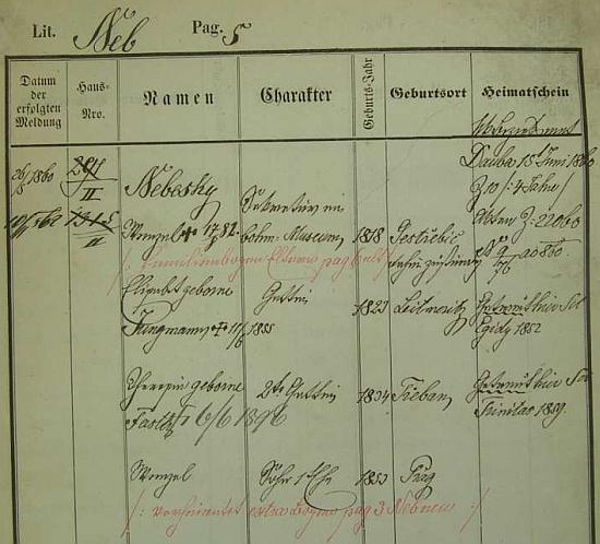 Z této pražské policejní přihlášky vysvítá, že Jaroslavova setra Elisabeth (1823-1855) byla první ženou     Václava Bolemíra Nebeského (1818-1882), básníka, který přivedl k literární tvorbě Boženu Němcovou
