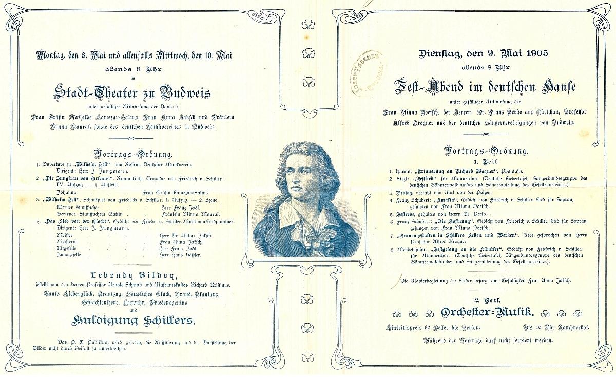 """Krátce před smrtí, 10. května 1905, ještě dirigoval v českobudějovickém divadle při oslavách """"schillerovského"""" výročí, s přednáškou tu vystoupil iAlfred Krogner"""
