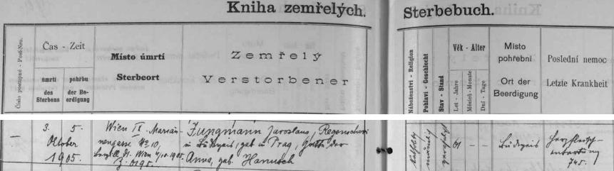 """Záznam o jeho českobudějovickém pohřbu 5. října 1905  v """"Knize zemřelých"""" prozrazuje mimo jiné místo jeho vídeňského úmrtí,     rodné příjmení jeho ženy Anny, roz. Hanuschové, jakož i příčinu úmrtí: """"Herzfleischentartung"""", tj. """"degenerace srdečního svalu"""""""