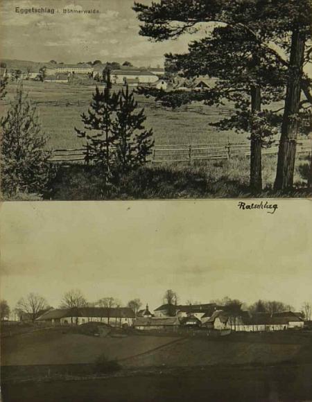 Pohlednice obce Bližné a vsi Radslav k ní příslušející na jedné ze stran kroniky