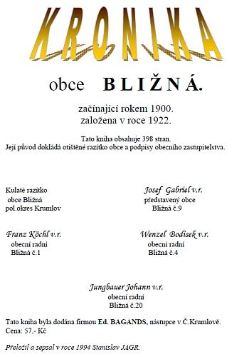 Webová podoba titulní strany přepisu kroniky od Stanislava Jagra (chybně je tu přepsán název firmy Ed. Bayands)