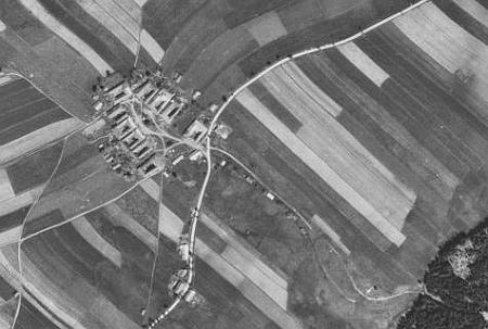 Bližná na leteckých snímcích z let 1949 a 2008