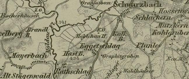 Bližná (Eggetschlag) na mapě z roku 1869