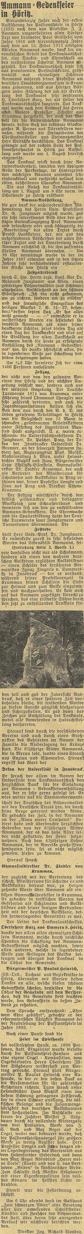 Zpráva o Ammannově pamětní slavnosti v Hořicích s Jungbauerovým tamním kázáním ve farním kostele