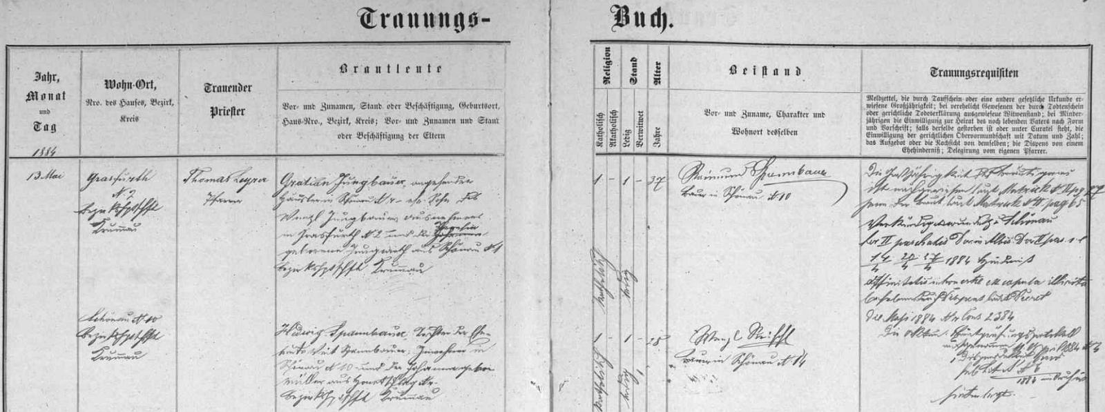 Svatba Gratiana Jungbauera a Hedwig Spannbauerové, jak ji zaznamenává oddací matrika farní obce Šenava (dnes Pěkná)