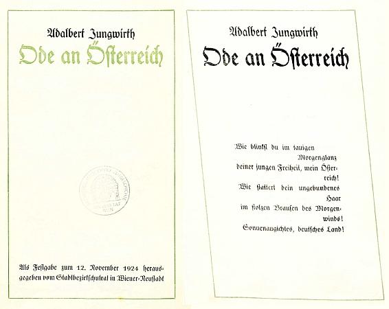 """Titulní list a úvodní strana vydání jeho básně """"Ode an Österreich"""" (1924) ze sbírek Univerzitní knihovny veVídni"""