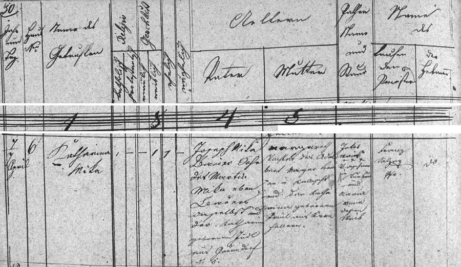 Německy psaný záznam o narození matčině 7. dubna roku 1845 v Kališti čp. 6 na stránkách křestní matriky farní obce Dubné