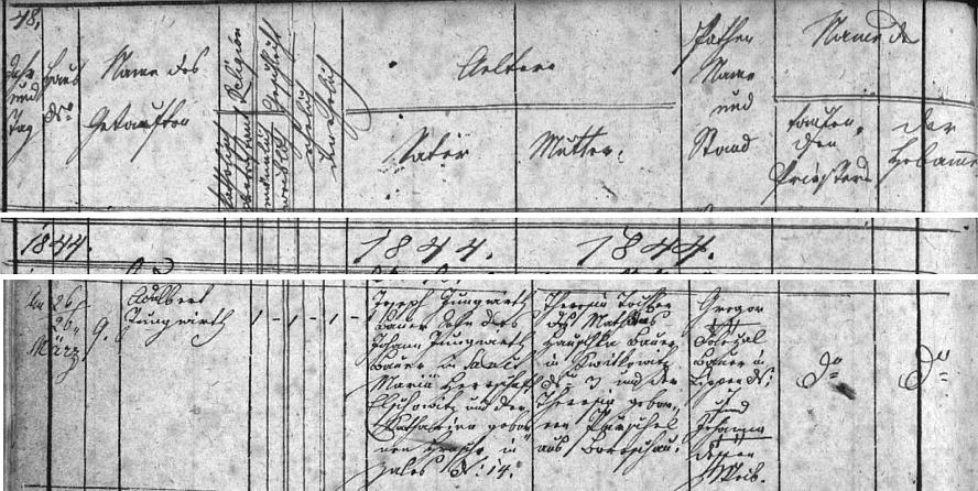 Německy psaný záznam o narození otcově 26. března roku 1844 v Kališti čp. 9 na stránkách křestní matriky farní obce Dubné, kde je upřesněna i poloha Svaté Maří, kde sedlačil děd, na panství Lčovice (zde Elschowitz)