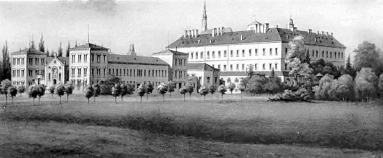 Spolkový výchovný ústav ve Vídeňském Novém Městě, kde působil, sídlil v budově bývalé tereziánské vojenské akademie - objekt byl za druhé světové války poškozen bombardováním a po ní přestavěn, snímek z konce 19.století zachycuje původní podobu