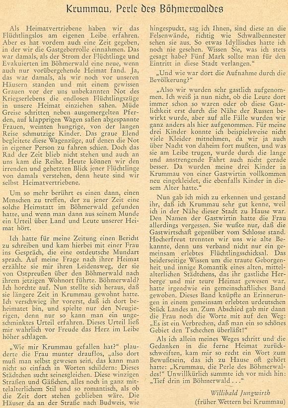 V roce 1956 otiskl v krajanském měsíčníku tento článek o Českém Krumlově, vyznávající se z lásky k němu