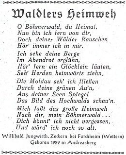 Jeho báseň, uveřejněná roku 1949, kdy mu bylo rovných dvacet let, v říjnovém čísle druhého ročníku krajanského měsíčníku