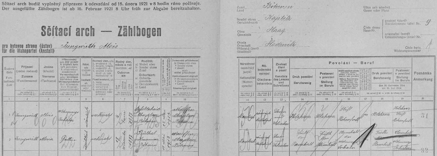 Podle archu sčítání lidu z roku 1921 žili ve Vyšších Hodonicích na stavení čp. 9 dřevorubec vyšebrodského kláštera Alois Jungwirth (*4. června 1877 v Jablonci /Ogfolderhaid/) a jeho choť Marie (*17. prosince 1877 v Přídolí)