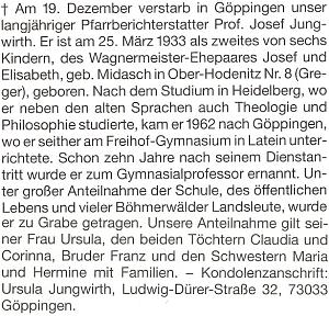 ... nekrolog na stránkách krajanského měsíčníku napsal jeho nástupce v roli rodáckého zpravodaje