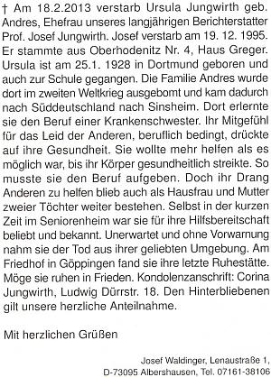 Nekrolog jeho ženy napsal rovněž Josef Waldinger