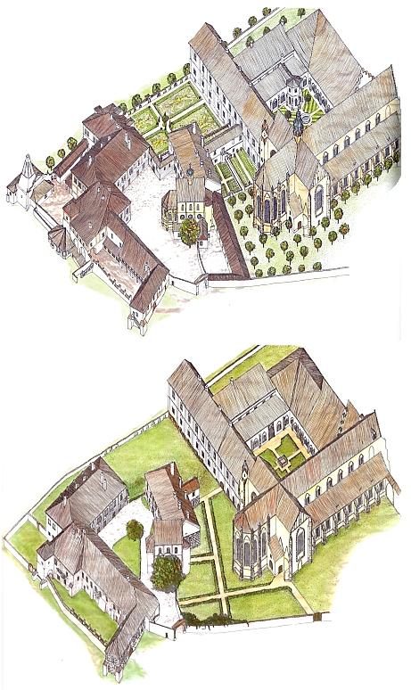 Srovnání stavu klášterního komplexu Zlaté Koruny z let 1785 a 1990 naštěstí vykazuje jen malé rozdíly