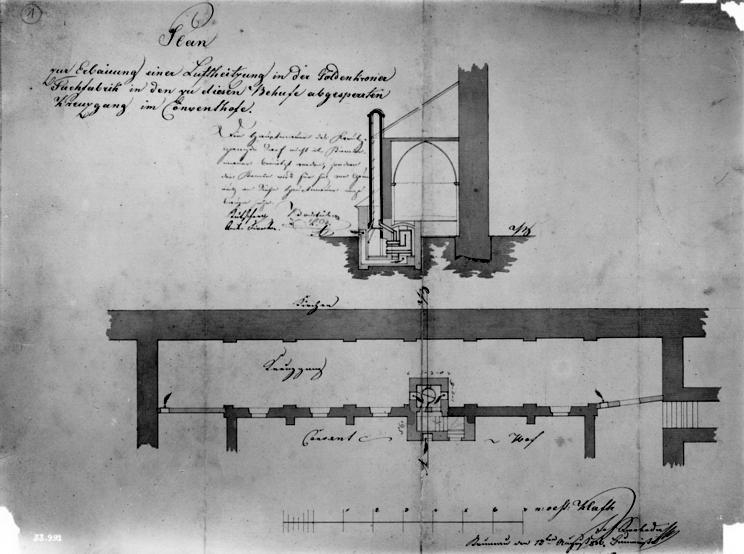 Výkres s komínem proraženým skrz klenbu ve velkém konventu zlatokorunského kláštera z roku 1836, tedy z doby podnikání Vincence Jungbauera