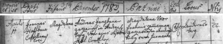 Záznam ondřejovské křestní matriky o narození jeho sestry Magdaleny 11. dubna roku 1783