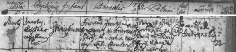 Záznam ondřejovské křestní matriky o narození jeho bratra Franze 28. března roku 1786, budoucího otce nevěsty Petera Steffense Aloisie