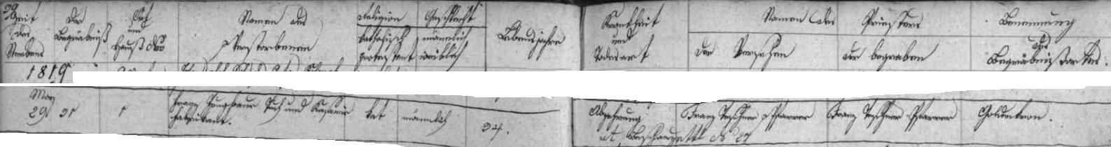 Záznam zlatokorunské úmrtní matriky o skonu jeho bratra Franze 29. května roku 1819