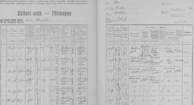 """Arch sčítání lidu z roku 1921 pro stavení čp. 75 v Huťském Dvoře s rodinou Maierhoferovou, tedy dvěma prarodiči, jejich snachou a třemi vnoučaty, z nichž Marie (*8. prosince 1907) je budoucí žena Josefa Jungwirtha """"staršího"""""""