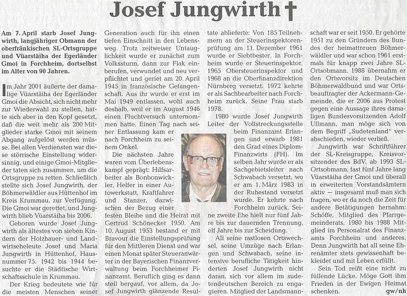 Obsáhlý nekrolog v témže listu, který v mnohém opakuje text k jeho devadesátinám
