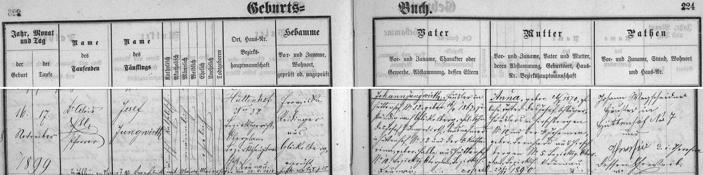 Záznam o narození Josefa Jungwirtha staršího v křestní matrice farní obce Glöckelberg (dnes Zadní Zvonková) s dodatečným přípisem o jeho zdejší svatbě s Marií Maierhoferovou dne 23. října roku 1928