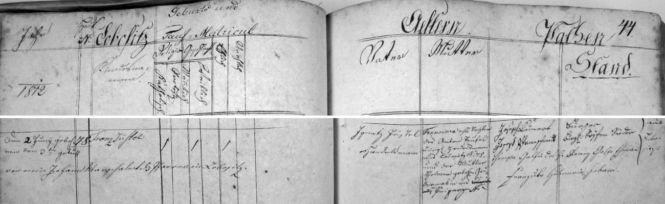 Záznam o jeho narození v lovosické křestní matrice