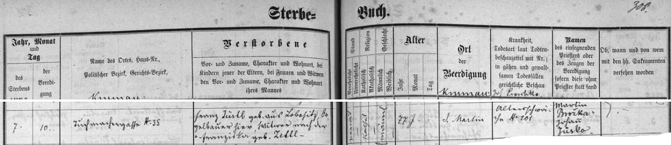 Záznam o jeho skonu a pohřbu v českokrumlovské úmrtní matrice