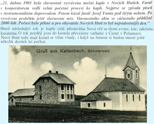 Z tohoto textu o kostelu v Nových Hutích vyplývá, že varhany sem byly přeneseny roku 1903