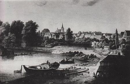 Rodné Lovosice s přístavem na vyobrazení z počátku 19. století