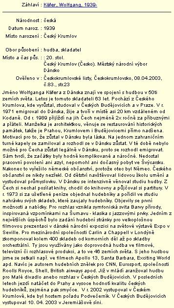 Záznam v databázi regionálních osobností Městské knihovny vČeském Krumlově