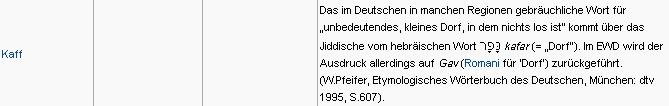 """O významu slova Kaff v němčině, kde značí tolik co """"bezvýznamná ves"""""""
