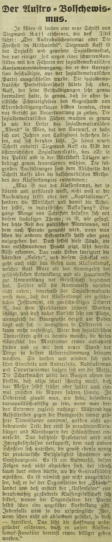 """Jeho spis """"Der Austro-Bolschewismus oder die Freiheit im Krähwinkel"""" sevnázvu odvolává na Nestroyovo dílo """"Svoboda v Kocourkově"""" a ostře sevypořádává se zastánci třídního boje"""