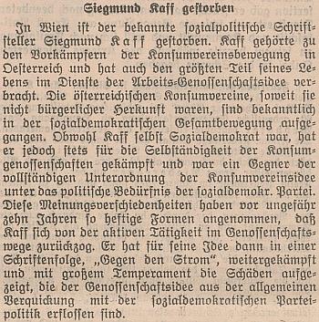 Zpráva o jeho úmrtí v rakouském tisku