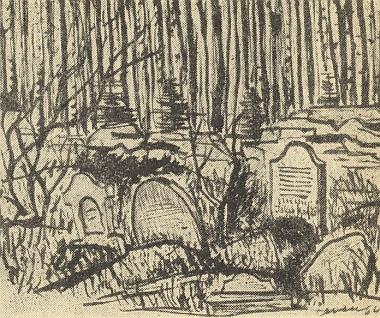 """Hrob Kafkova děda na židovském hřbitově v Zadním hájku u Oseku (Jakob Kafka tu byl roku 1889 posledním pohřbeným), jak jej zachytila v roce 1966 kresba Jiřího Jevena Novotného, provázející článek Miloslava Novotného o zdejším zámku jako předloze slavného Kafkova románu """"Das Schloss"""""""