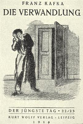 Obálka  prvního vydání (1916, nakladatelství Kurt Wolff, Lipsko) jeho slavné prózy Proměna s kresbou , jejímž autorem je Ottomar Starke