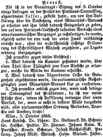 Další zpráva z tisku, dokumentující jeho politickou činnost vbouřlivém roce1848